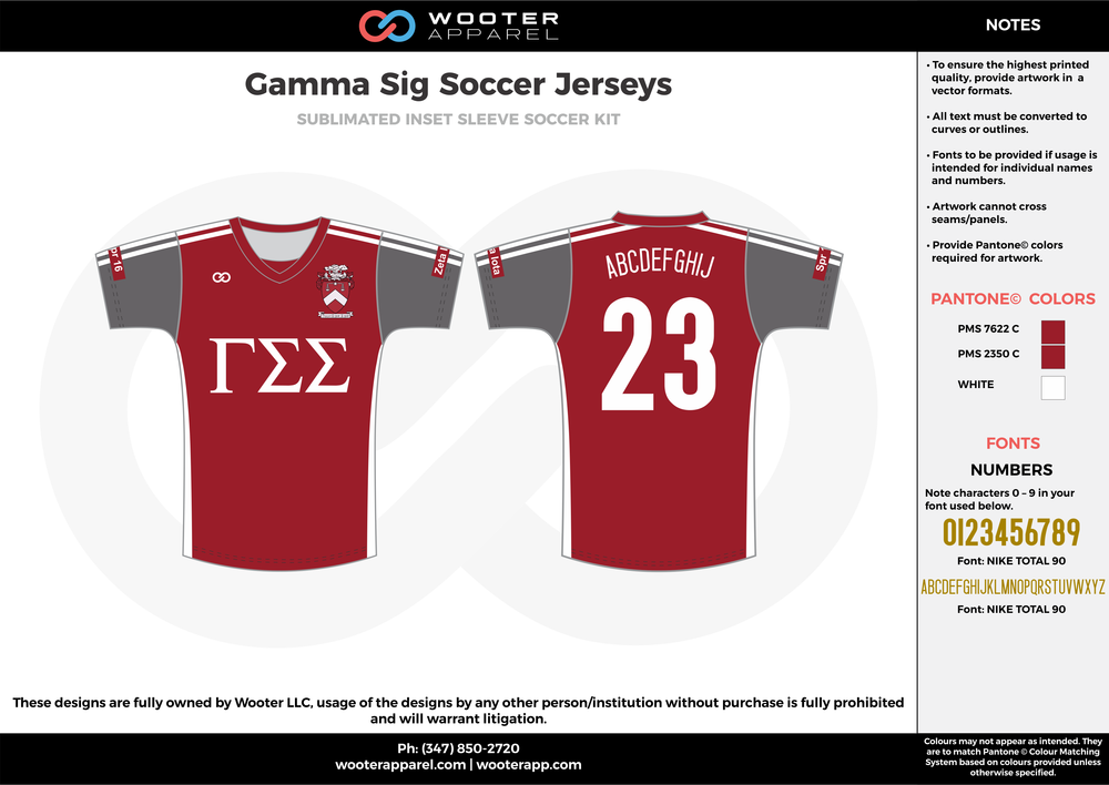 Gamma Sig maroon white custom sublimated soccer uniform jersey shirt