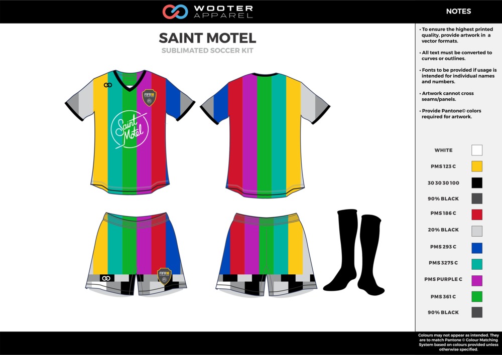SAINT MOTEL rainbow color custom sublimated soccer uniform jersey shirt shorts socks