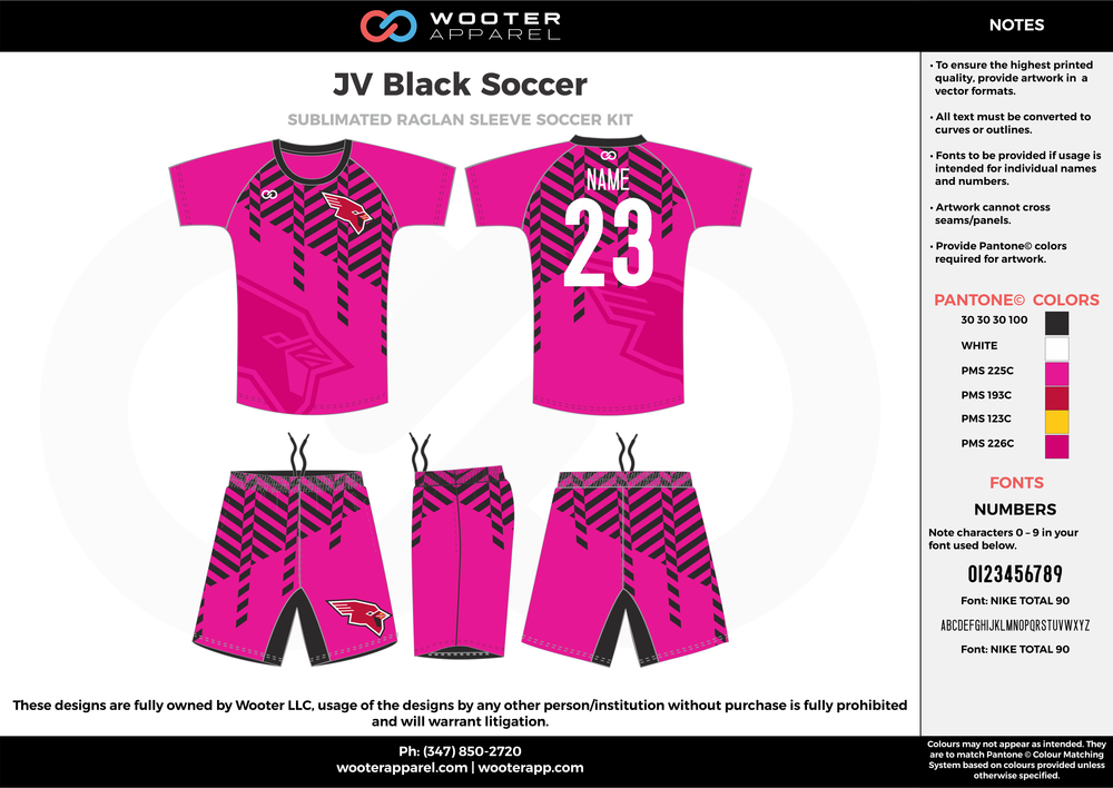 JV Black Soccer fuchsia pink black white custom sublimated soccer uniform jersey shirt shorts