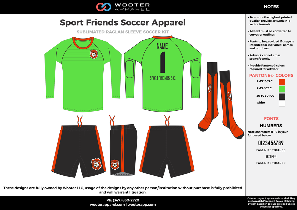 Sport Friends green black orange custom sublimated soccer uniform jersey shirt shorts socks