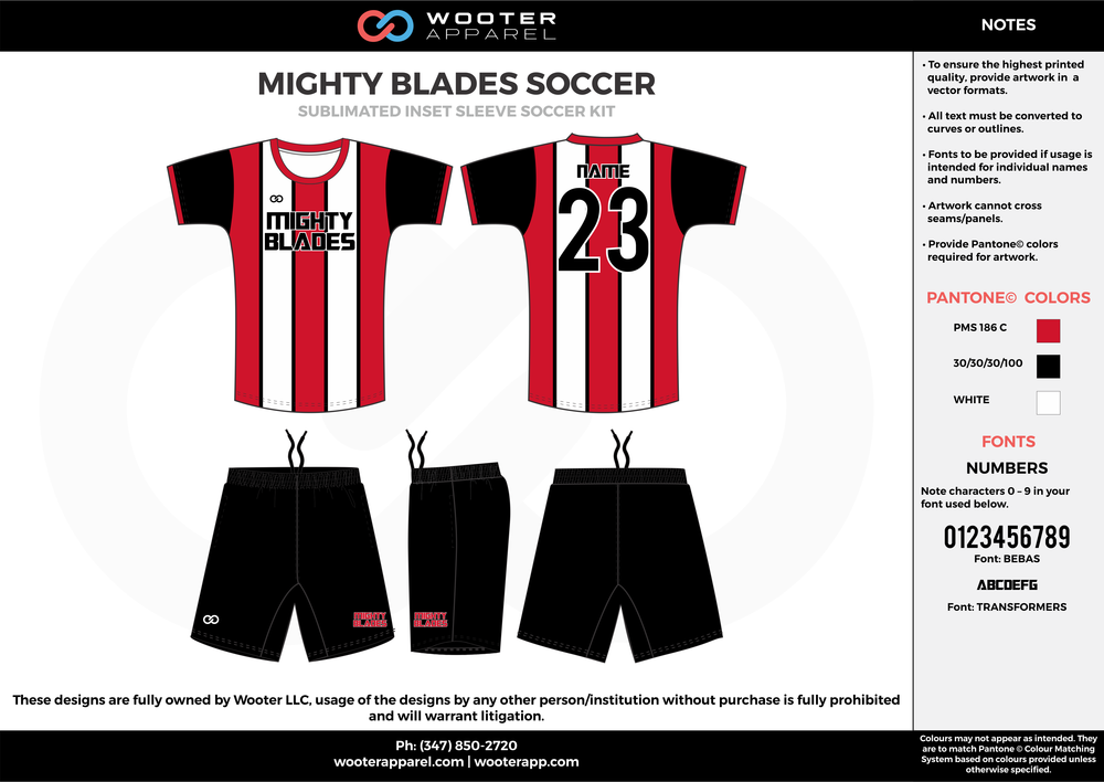 MIGHTY BLADES red black white custom sublimated soccer uniform jersey shirt shorts