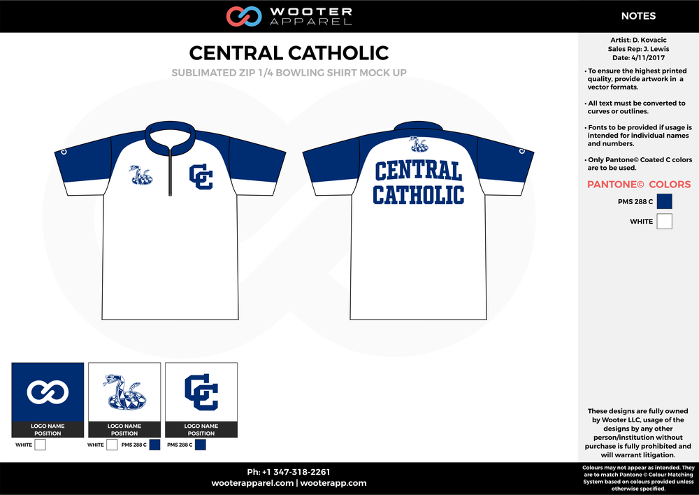 CENTRAL CATHOLIC white blue bowling uniforms, shirts, quarter zip polo