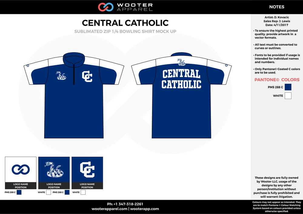 CENTRAL CATHOLIC blue white bowling uniforms, shirts, quarter zip polo