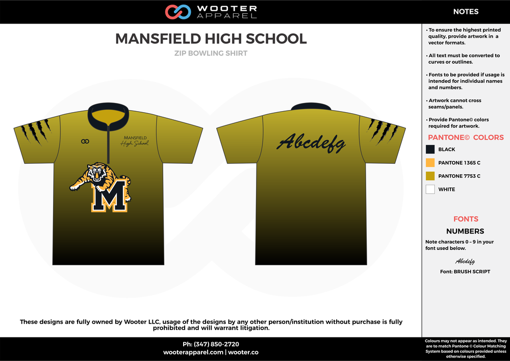 MANSFIELD HIGH SCHOOL olive green black orange bowling uniforms, shirts, quarter zip polo