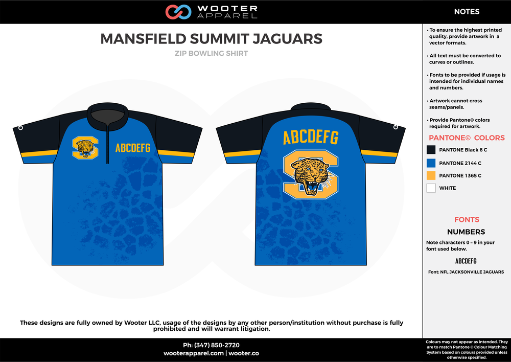MANSFIELD SUMMIT JAGUARS blue black orange bowling uniforms, shirts, quarter zip polo