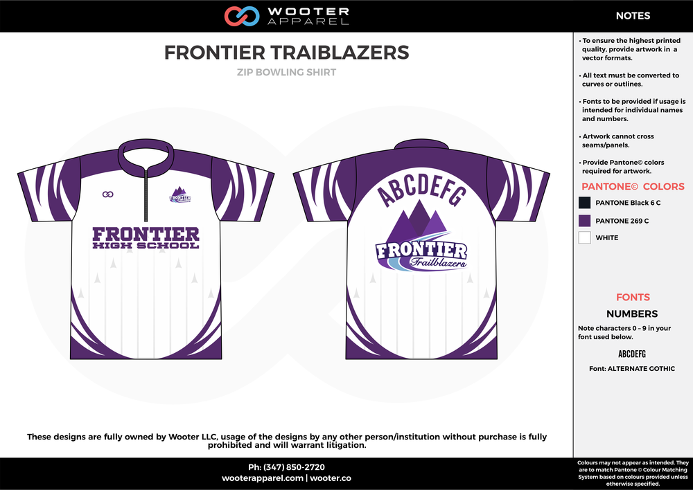 FRONTIER TRAIBLAZERS violet white bowling uniforms, shirts, quarter zip polo