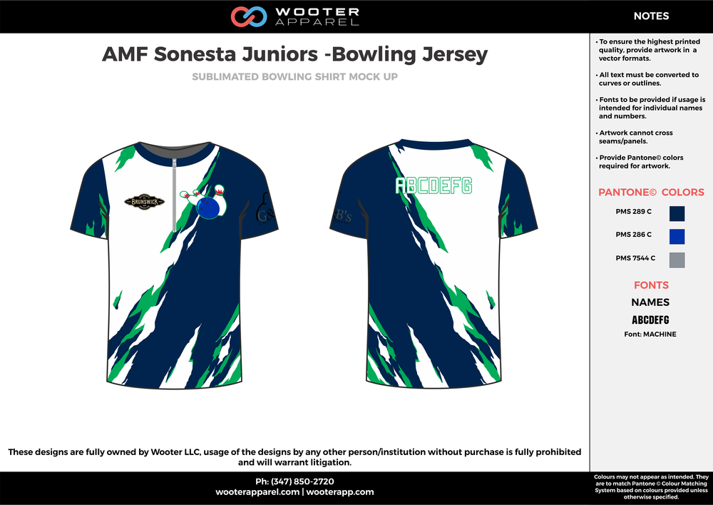 AMF Sonesta Juniors blue white green bowling uniforms, shirts, quarter zip polo