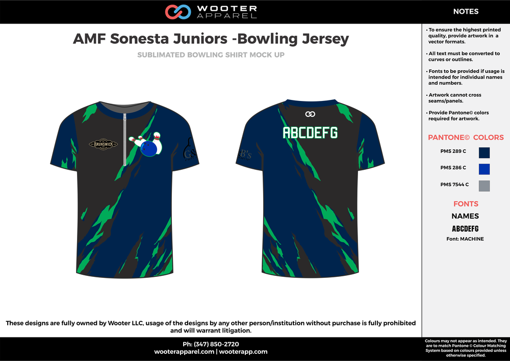 AMF Sonesta Juniors blue black green bowling uniforms, shirts, quarter zip polo