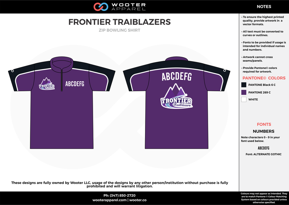 FRONTIER TRAIBLAZERS violet black white bowling uniforms, shirts, quarter zip polo