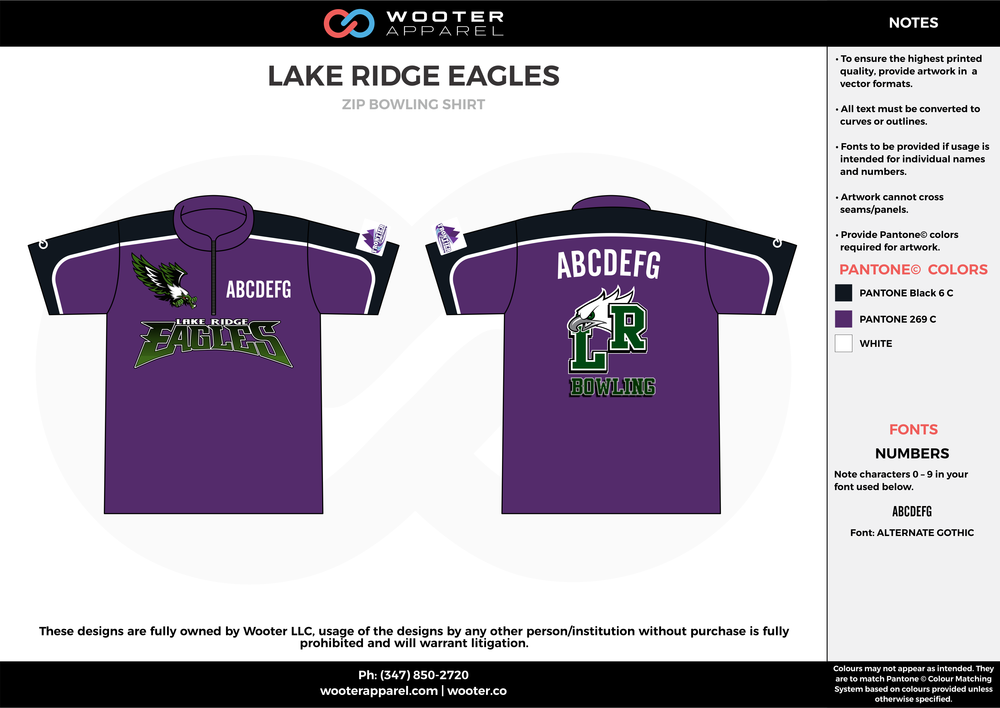LAKE RIDGE EAGLES violet black white bowling uniforms, shirts, quarter zip polo