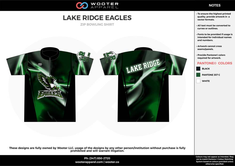 LAKE RIDGE EAGLES green black white bowling uniforms, shirts, quarter zip polo