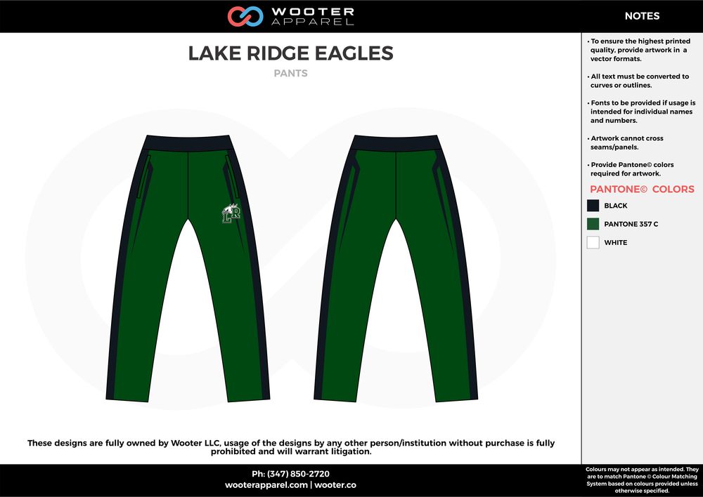 LAKE RIDGE EAGLES green black bowling uniforms, pants