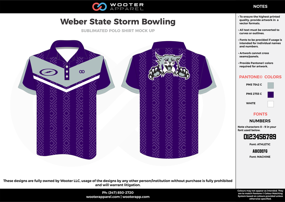Weber State Storm violet gray white bowling uniforms, shirts, quarter zip polo