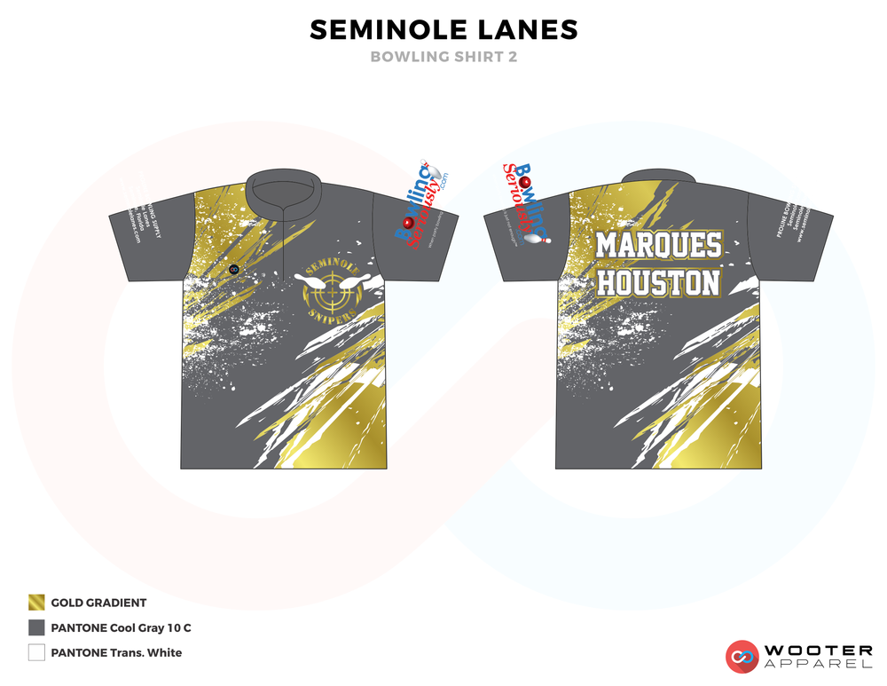 SEMINOLE LANES gray yellow white bowling uniforms, shirts, quarter zip polo