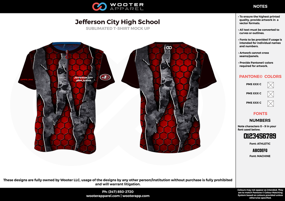 Jefferson City High School red black gray bowling uniforms, shirts, quarter zip polo