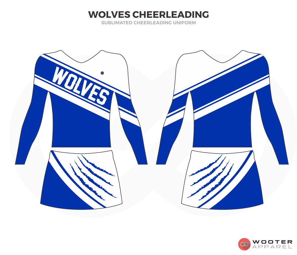 WOLVES CHEERLEADING blue white cheerleading uniforms, top, and skirt