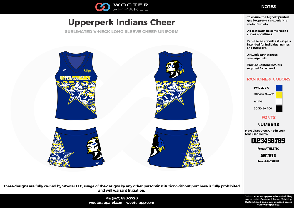 Upperperk Indians Cheer blue yellow white cheerleading uniforms, top, and skirt
