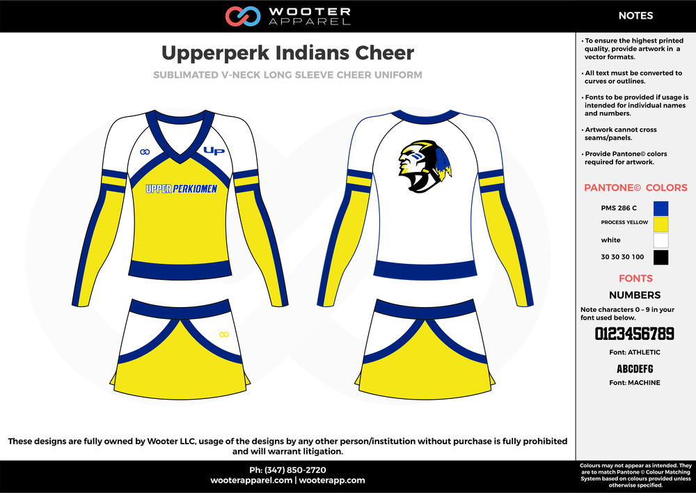 Upperperk Indians Cheer yellow white blue cheerleading uniforms, top, and skirt