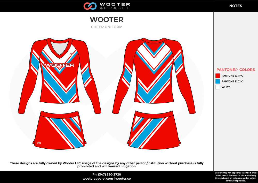 WOOTER red blue white cheerleading uniforms, top, and skirt