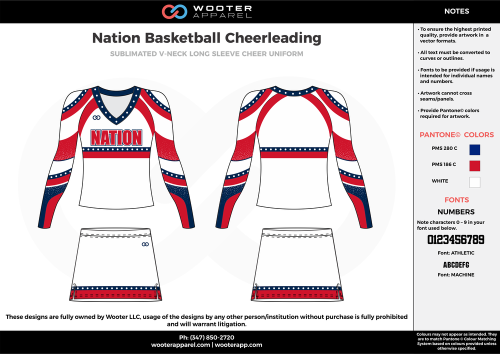 Nation Basketball red white blue cheerleading uniforms, top, and skirt