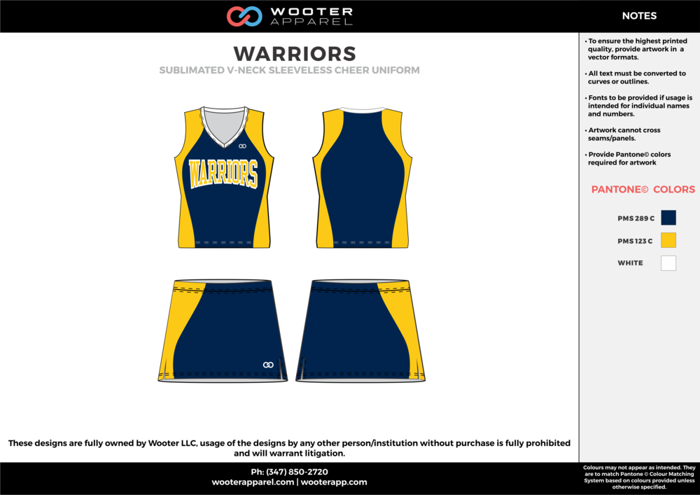 WARRIORS yellow navy blue cheerleading uniforms, top, and skirt