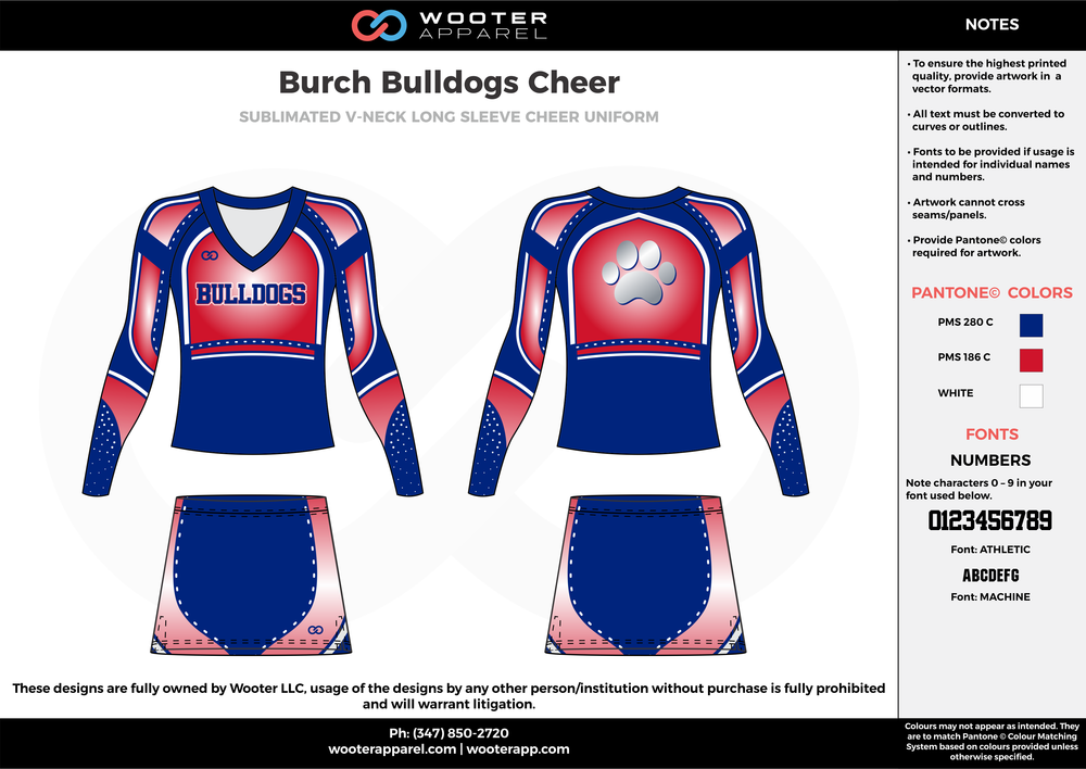 Burch Bulldogs Cheer red blue cheerleading uniforms, top, and skirt