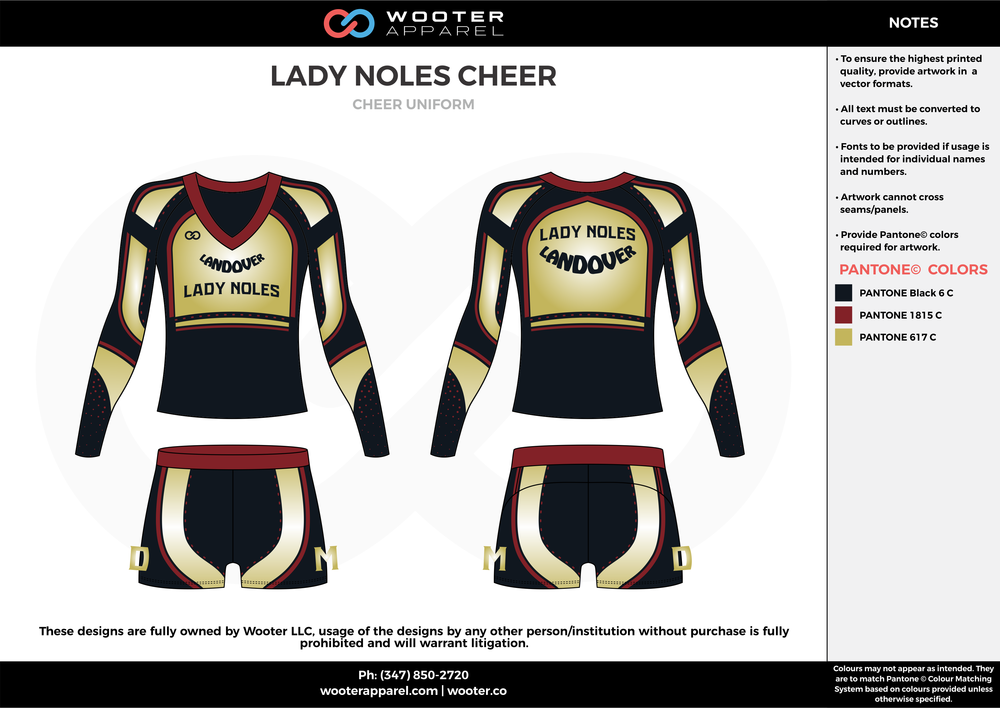 LADY NOLES CHEER black maroon gold cheerleading uniforms, top, and shorts