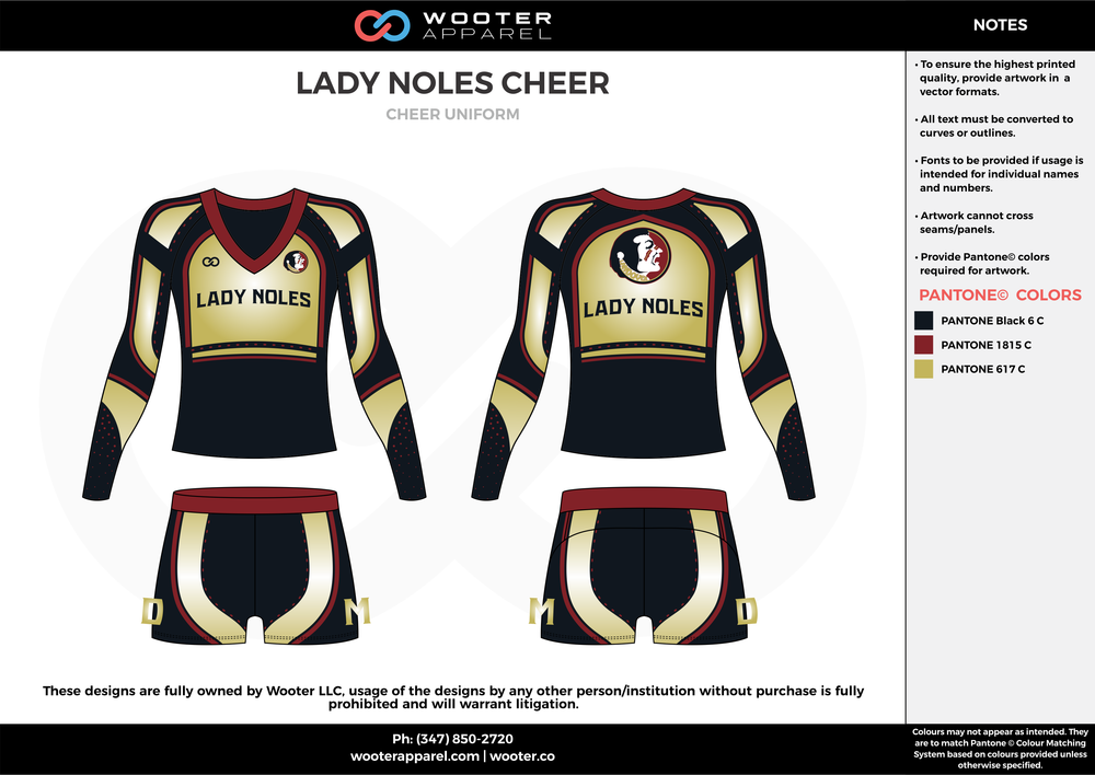LADY NOLE CHEER black gold white cheerleading uniforms, top, and shorts