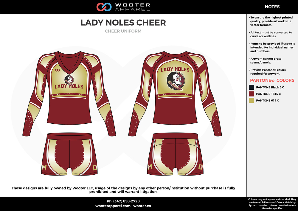LADY NOLES CHEER maroon gold white cheerleading uniforms, top, and skirt