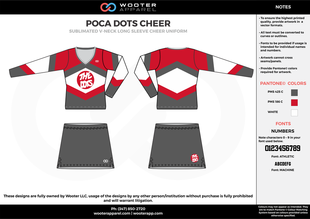 POCA DOTS CHEER red gray white cheerleading uniforms, top, and skirt