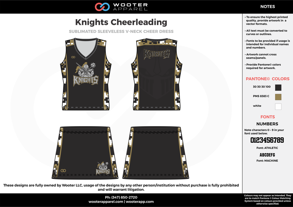 Knights black olive green white cheerleading uniforms, top, and skirt