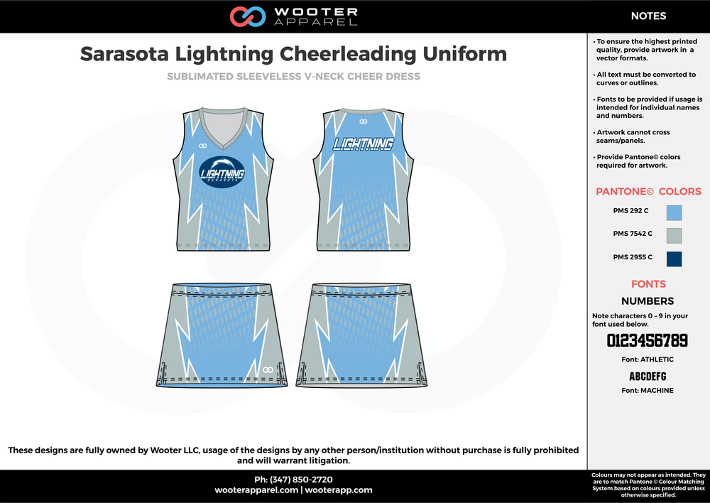 Sarasota Lightning blue gray cheerleading uniforms, top, and skirt