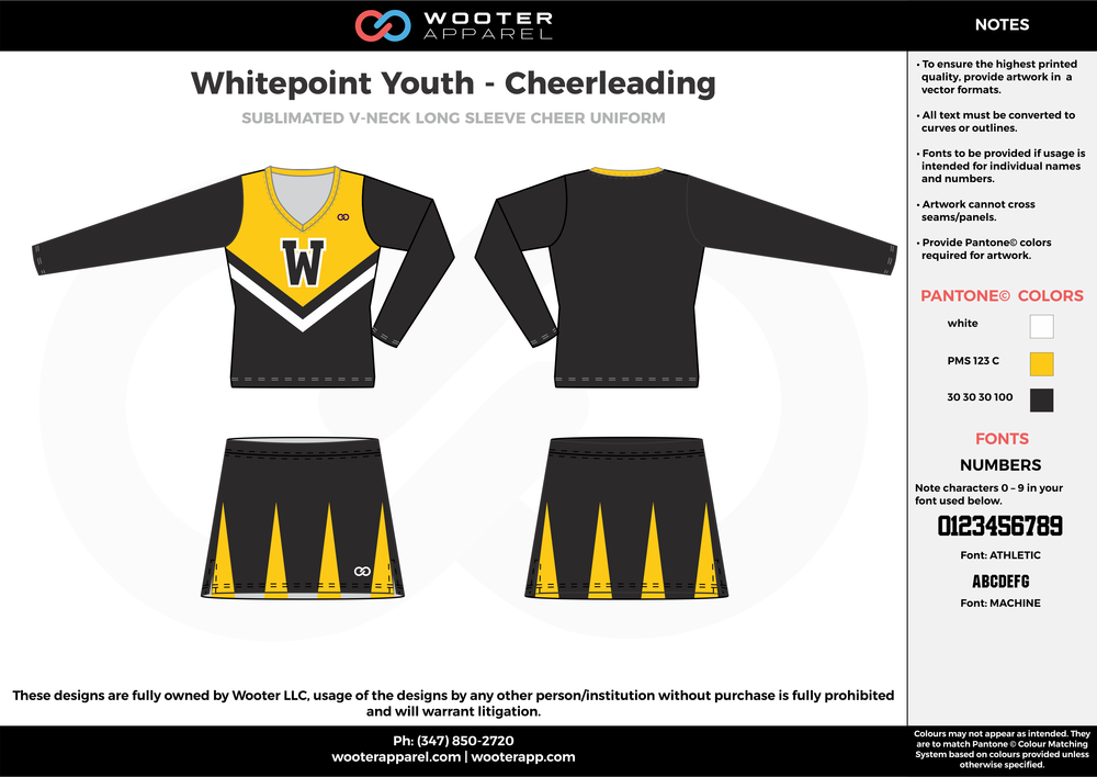 Whitepoint Youth yellow black white cheerleading uniforms, top, and skirt