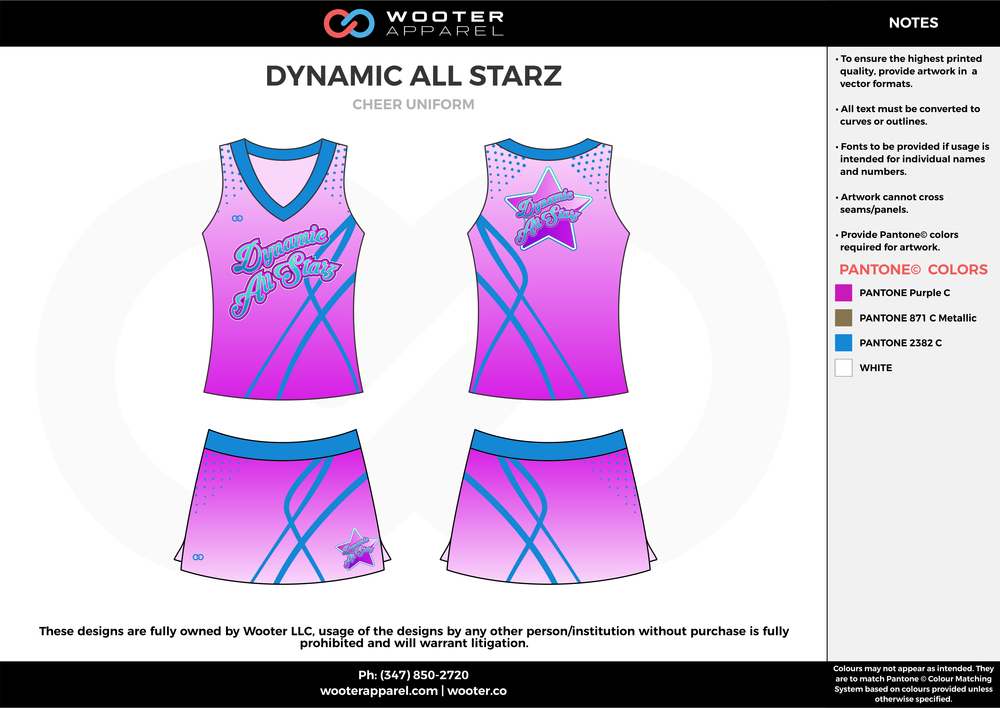 DYNAMIC ALL STARZ lavander blue cheerleading uniforms, top, and skirt