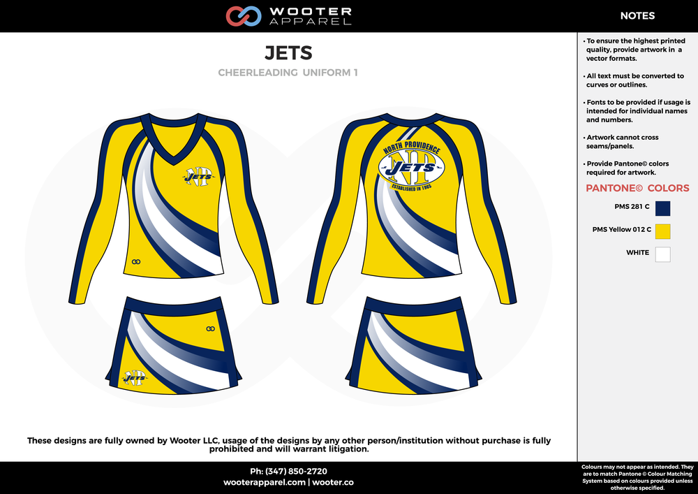 JETS yellow blue white cheerleading uniforms, top, and skirt