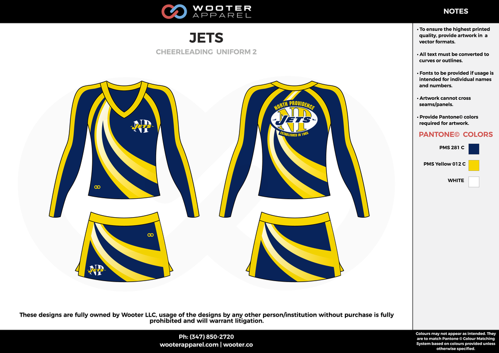 JETS blue yellow white cheerleading uniforms, top, and skirt