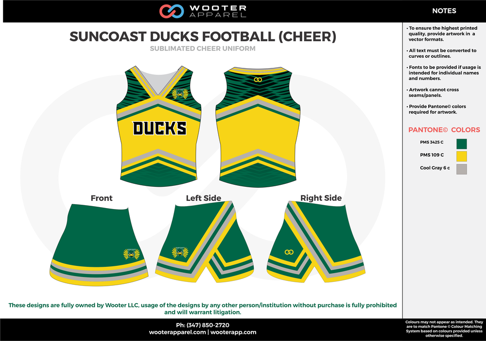 SUNCOAST DUCKS FOOTBAL green yellow blue cheerleading uniforms, top, and skirt
