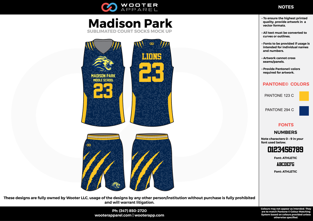 Madison Park navy blue yellow cheerleading uniforms, top, and shorts