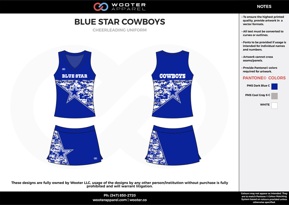 BLUE STAR COWBOYS blue white cheerleading uniforms, top, and skirt