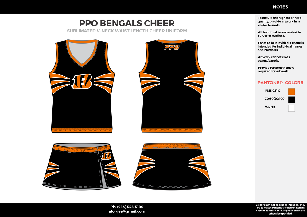 PPO BENGALS CHEER black orange white cheerleading uniforms, top, and skirt