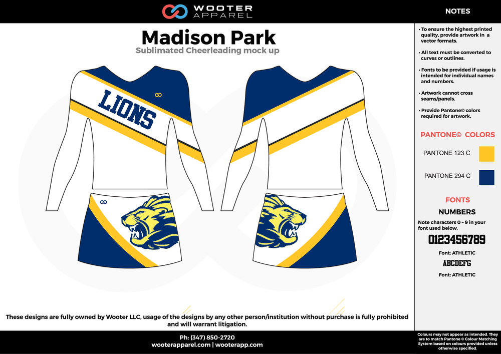 Madison Park white blue yellow cheerleading uniforms, top, and skirt