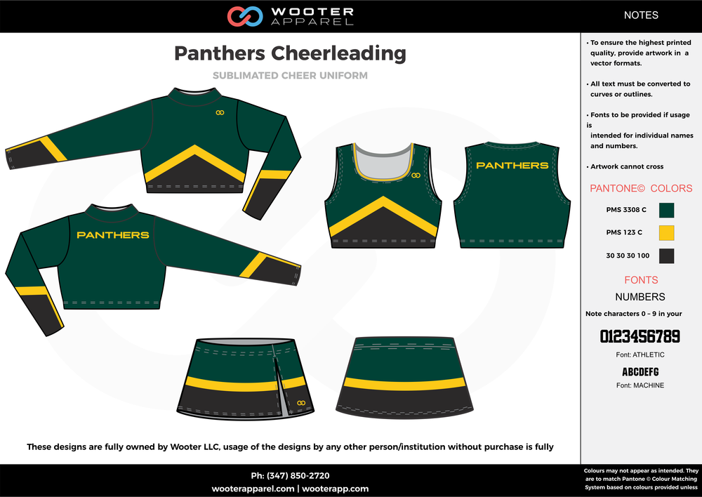 Panthers green black yellow cheerleading uniforms, top, and skirt