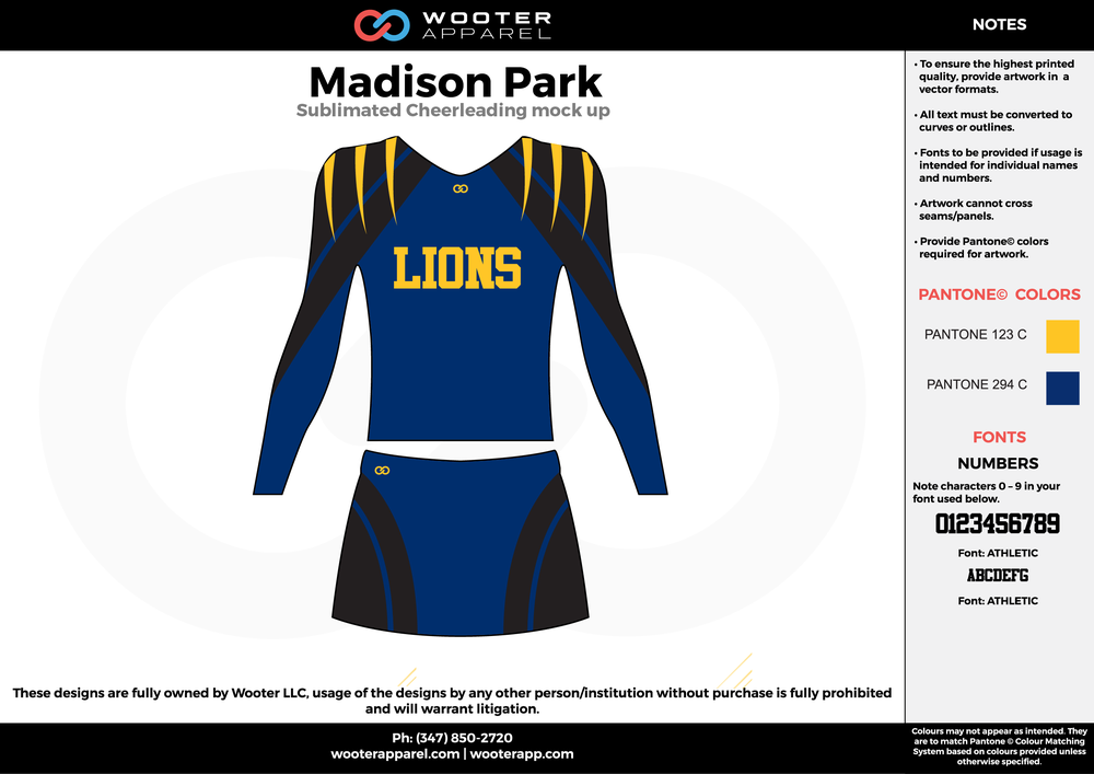 Madison Park blue black yellow cheerleading uniforms, top, and skirt