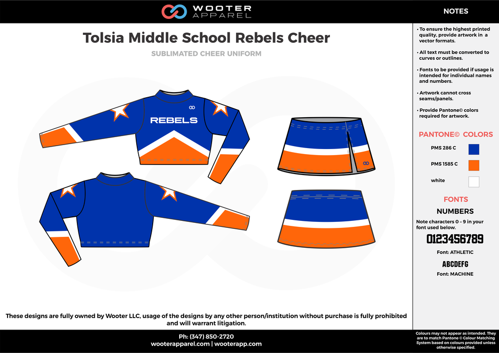 Tolsia Middle School Cheer blue orange white cheerleading uniforms, top, and skirt