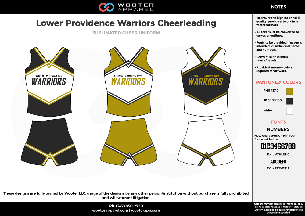 Lower Providence Warriors black white olive green cheerleading uniforms, top, and shorts