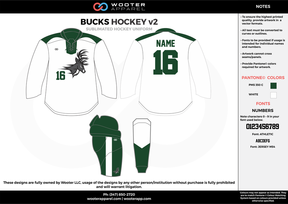 BUCKS HOCKEY v2 white green hockey uniforms jerseys socks