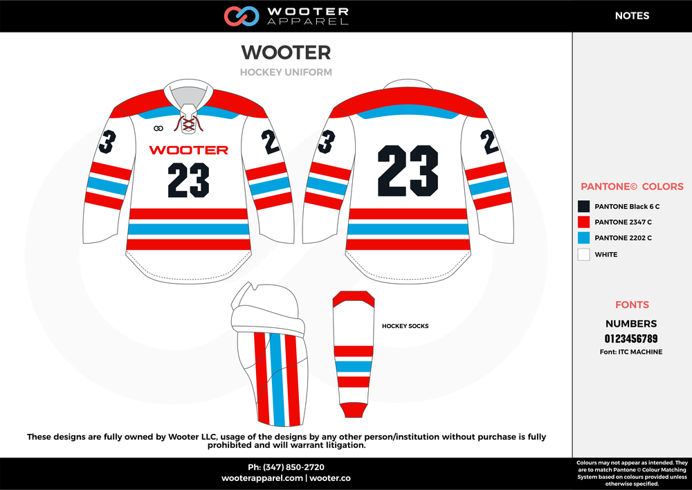 WOOTER blue white red black hockey uniforms jerseys socks