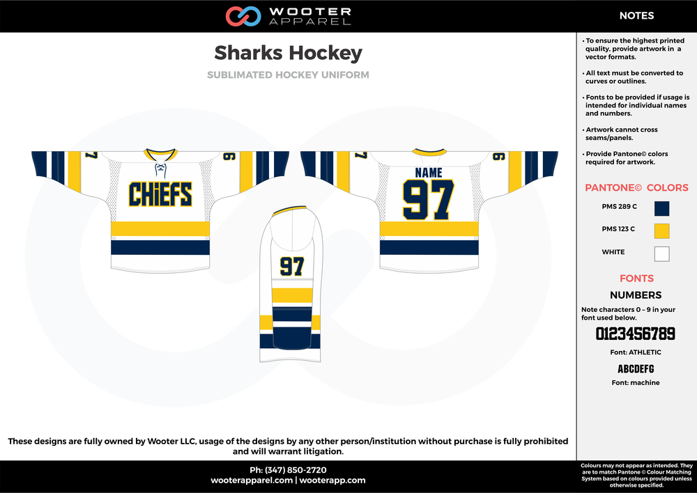 Sharks Hockey blue white yellow hockey uniforms jerseys socks