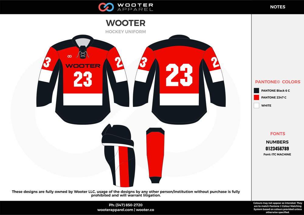 WOOTER black red white hockey uniforms jerseys socks