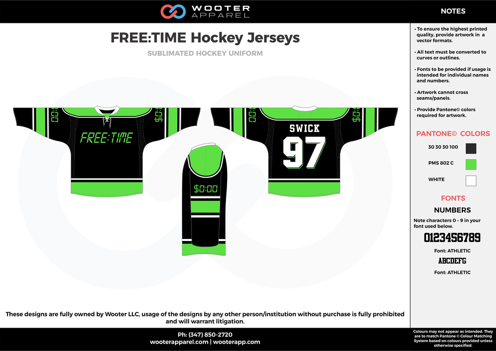 FREE TIME Hockey Jerseys green black white hockey uniforms jerseys socks